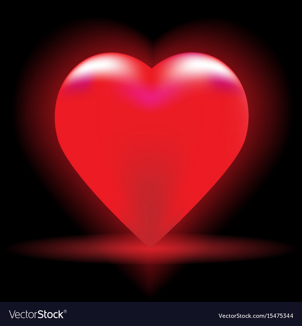 Bright red heart on a black background Royalty Free Vector