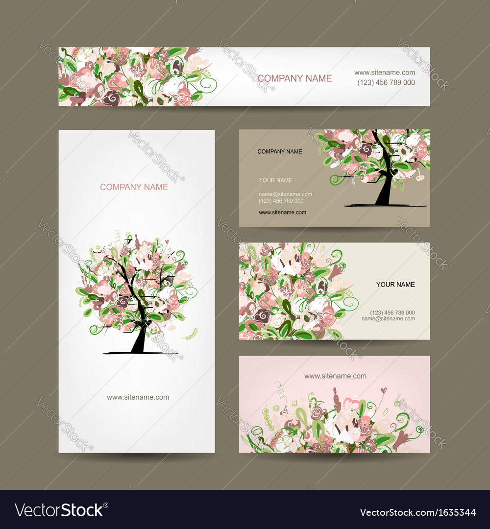 Business cards design with floral tree sketch vector image colourmoves