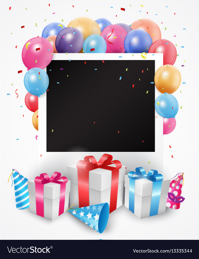 Colorful birthday balloon with photo frame vector image