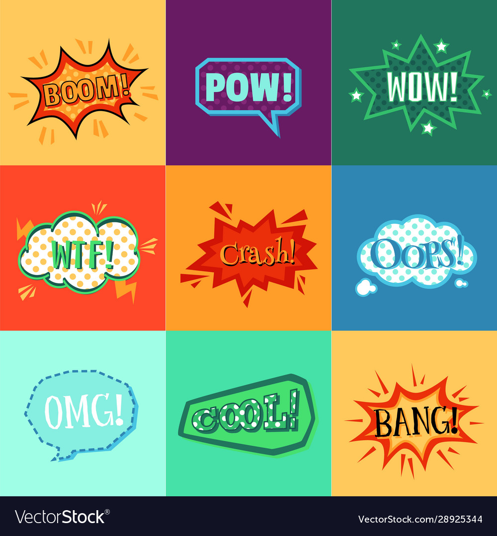 Comic book speech bubble sticker set with colorful