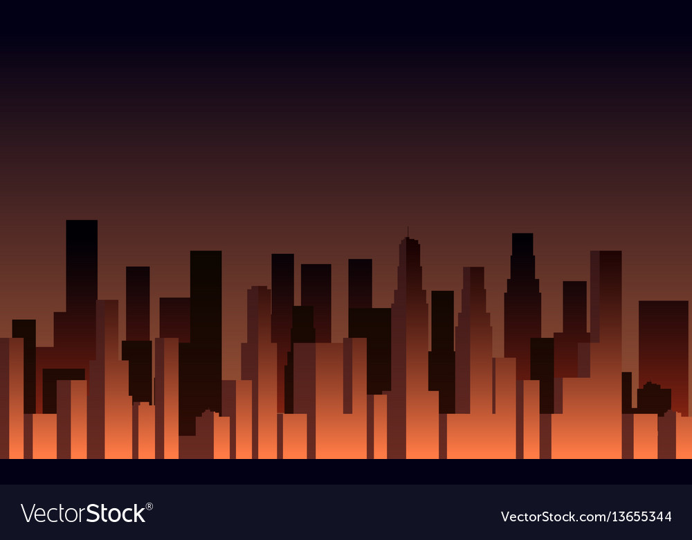 Evening panorama of the city skyscrapers