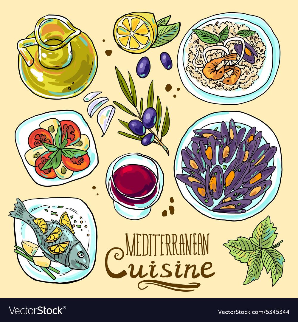 Hand-draw set of mediterranean food- salad mussels vector image