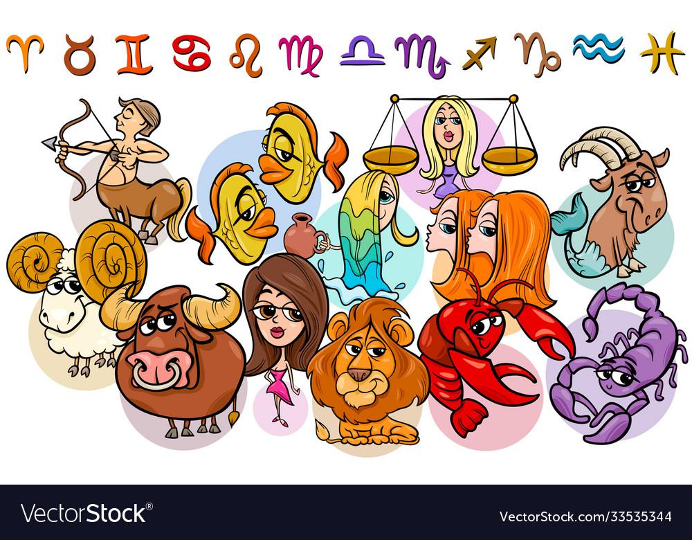 Horoscope zodiac signs collection cartoon