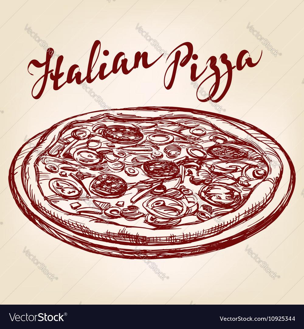 Italian pizza hand drawn llustration vector image
