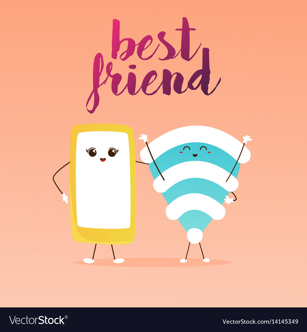 Best Friends Cute Cartoon Phone And Wifi Vector Image
