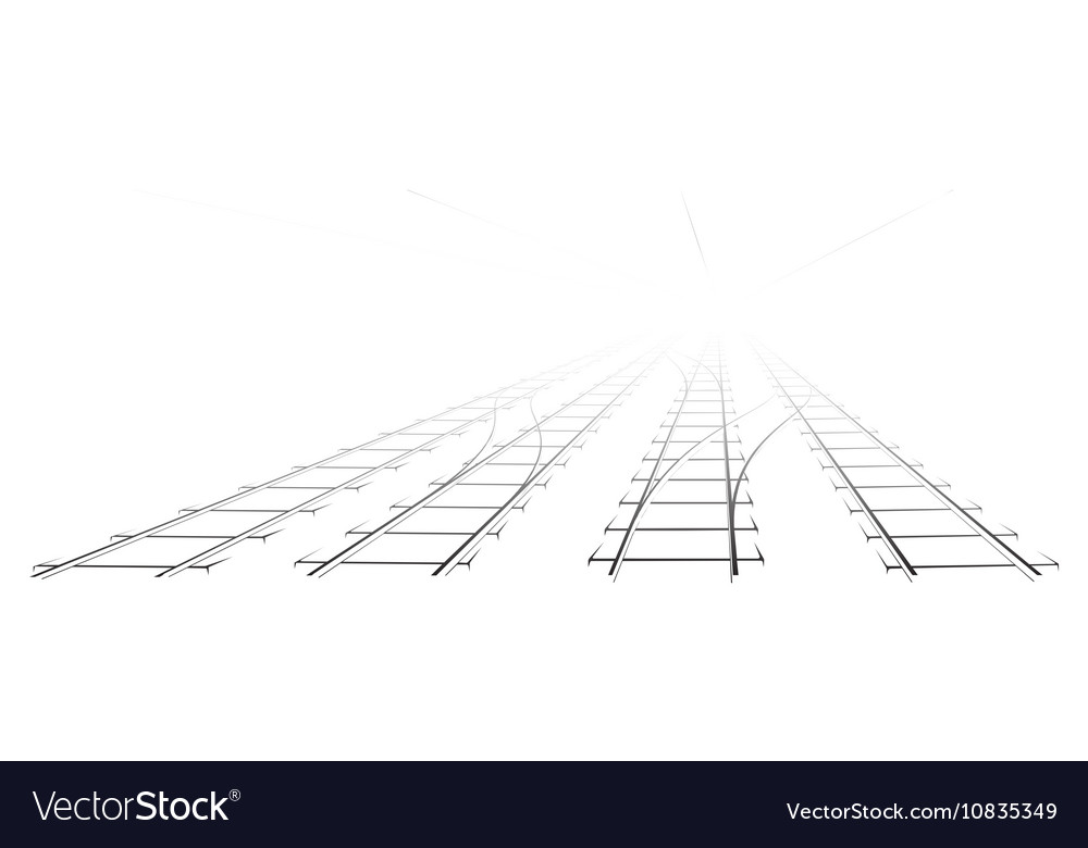 Black Outline of tracks sleepers and turnouts at vector image