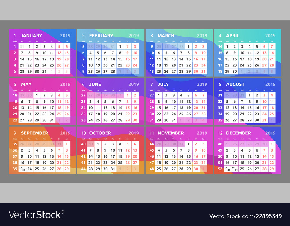 Calendar design for 2019 week starts on monday