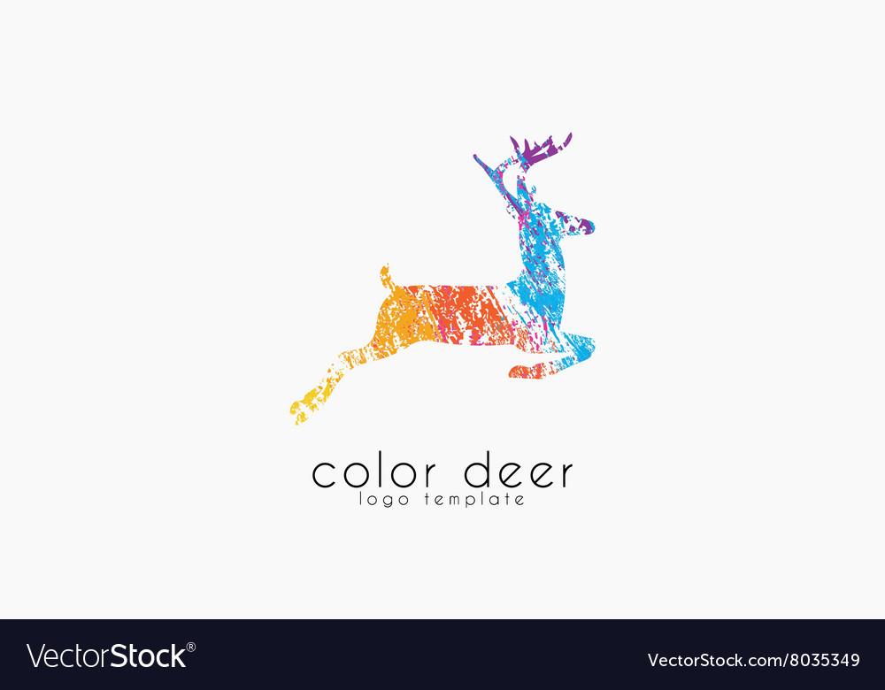 Deer logo design Color deer Animal logo Royalty Free Vector