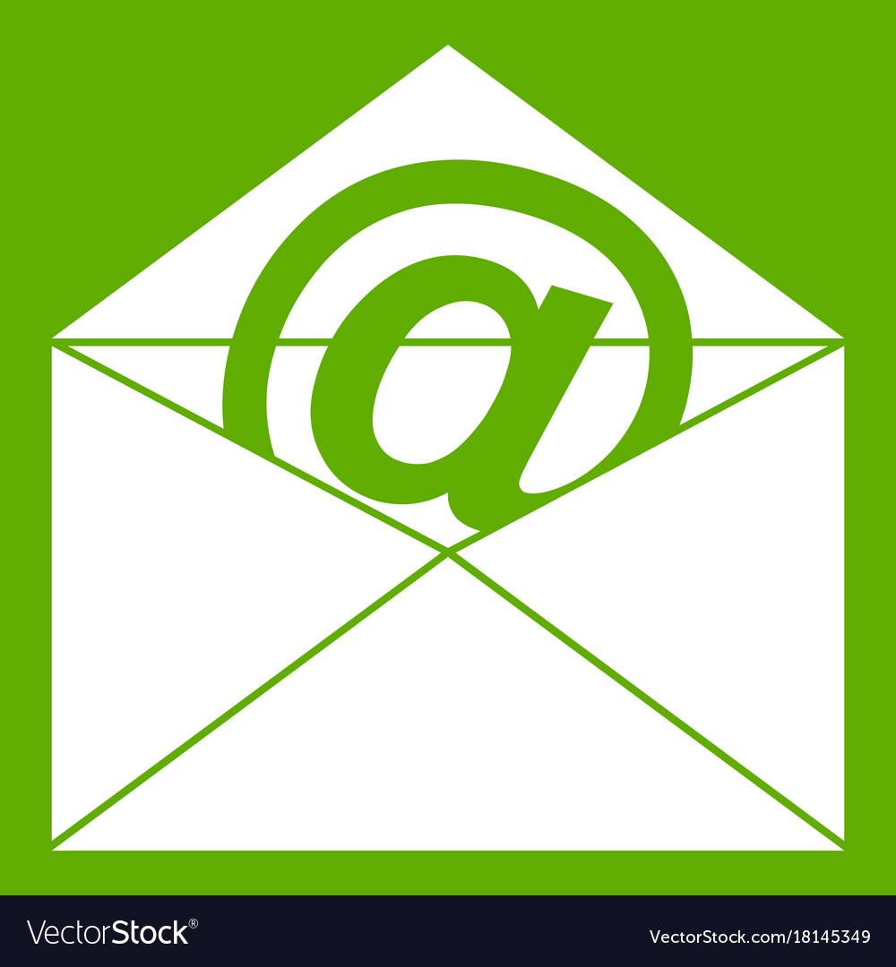envelope with email sign icon green royalty free vector