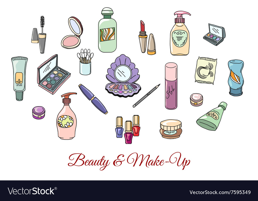 Hand drawn cosmetics and make up objects