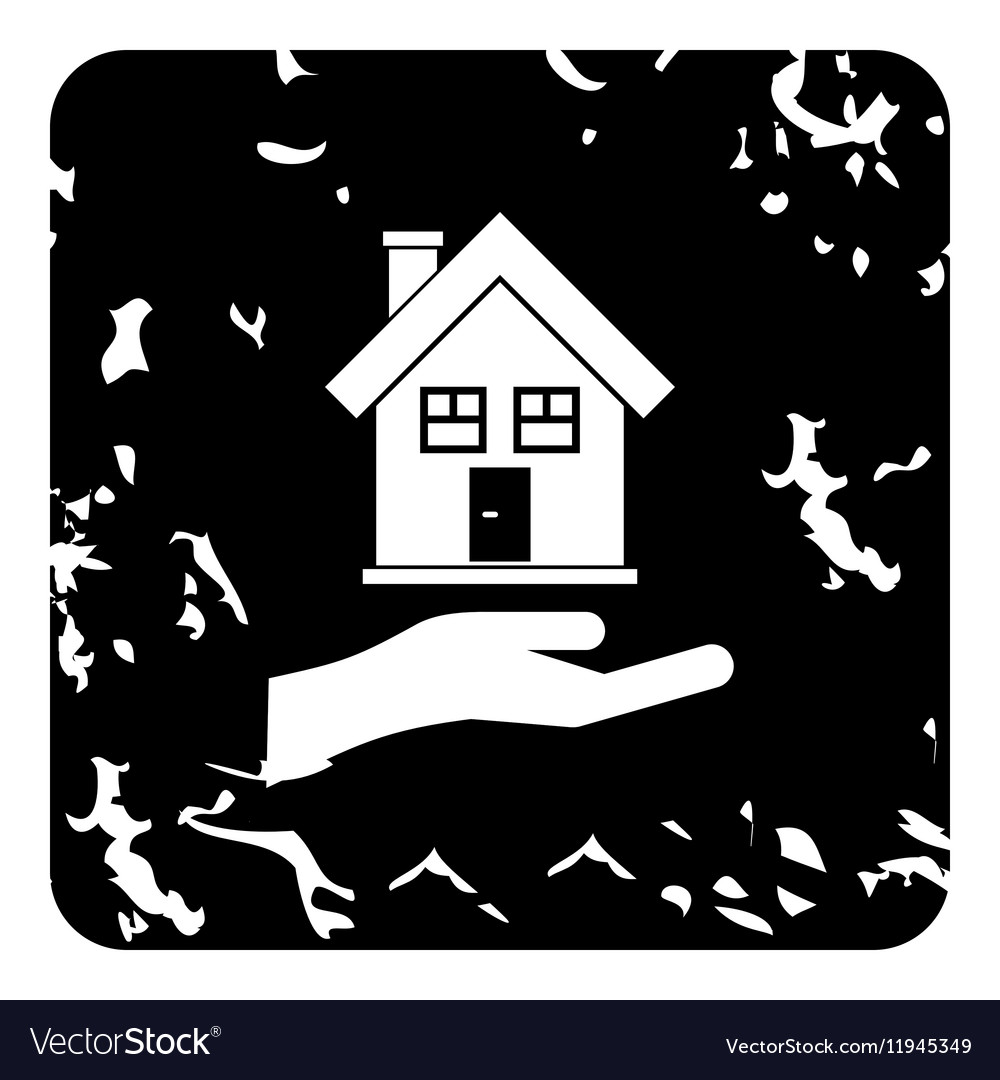 Hand holding house icon grunge style vector image