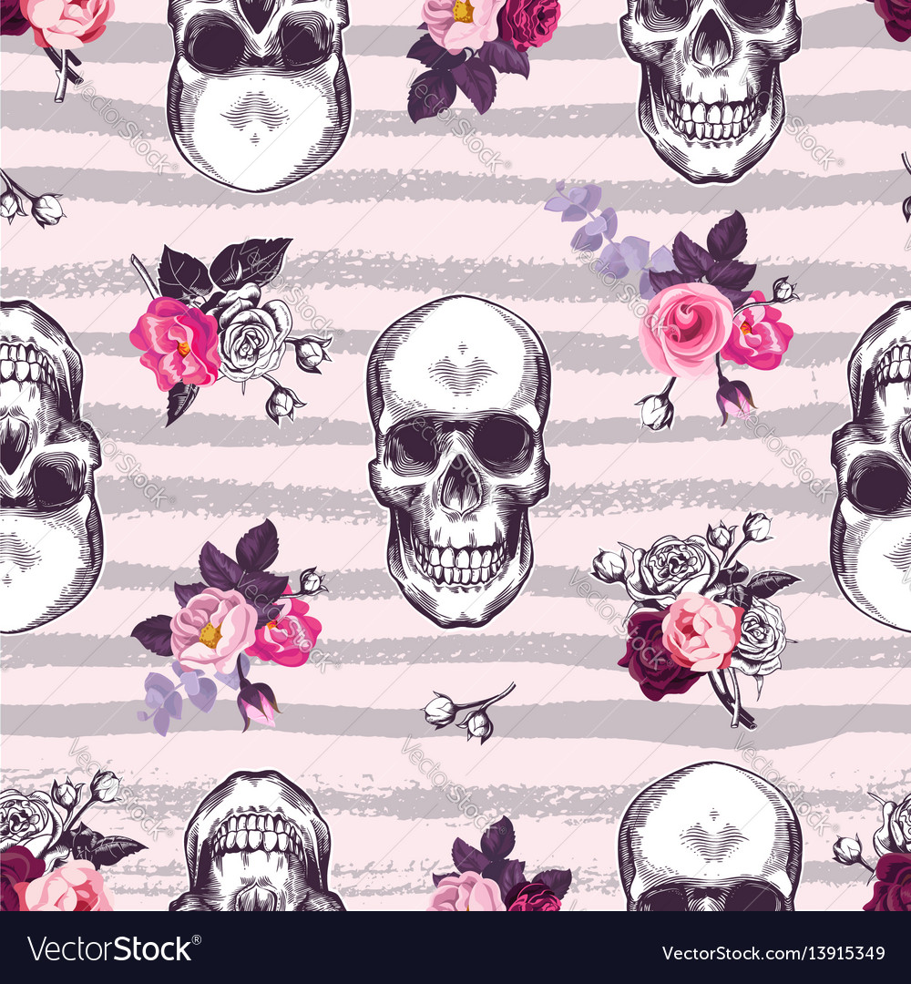 Kitschy seamless pattern with human skulls and