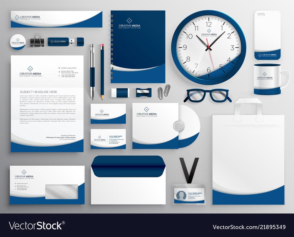 modern blue professional business stationery set vector image