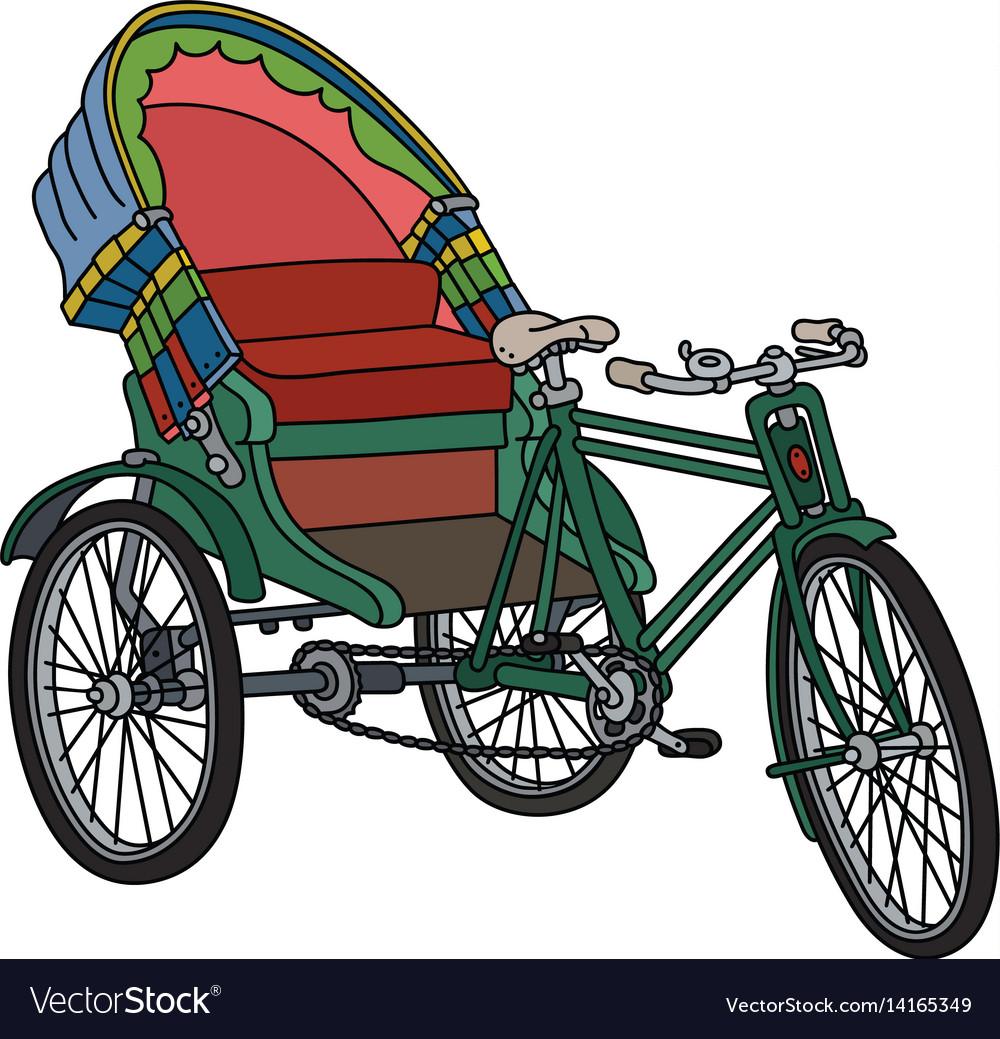 Old green cycle rickshaw vector image