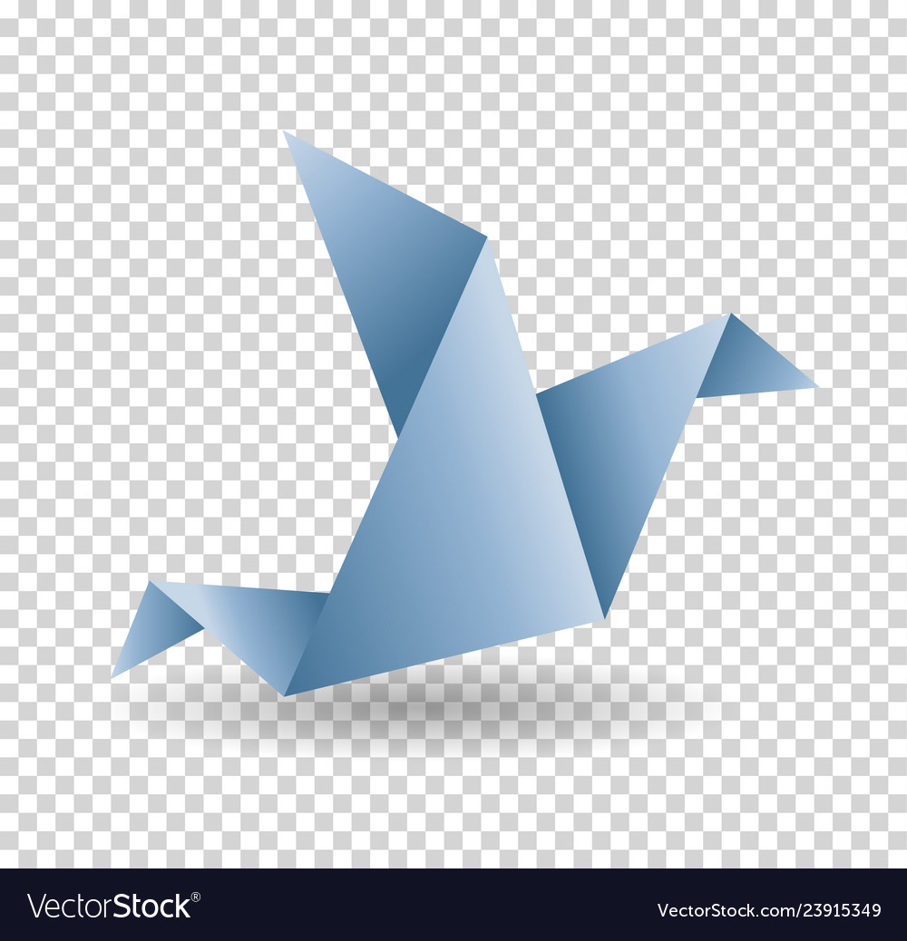Origami paper bird polygonal