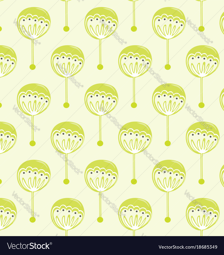Pattern green flowers vector image