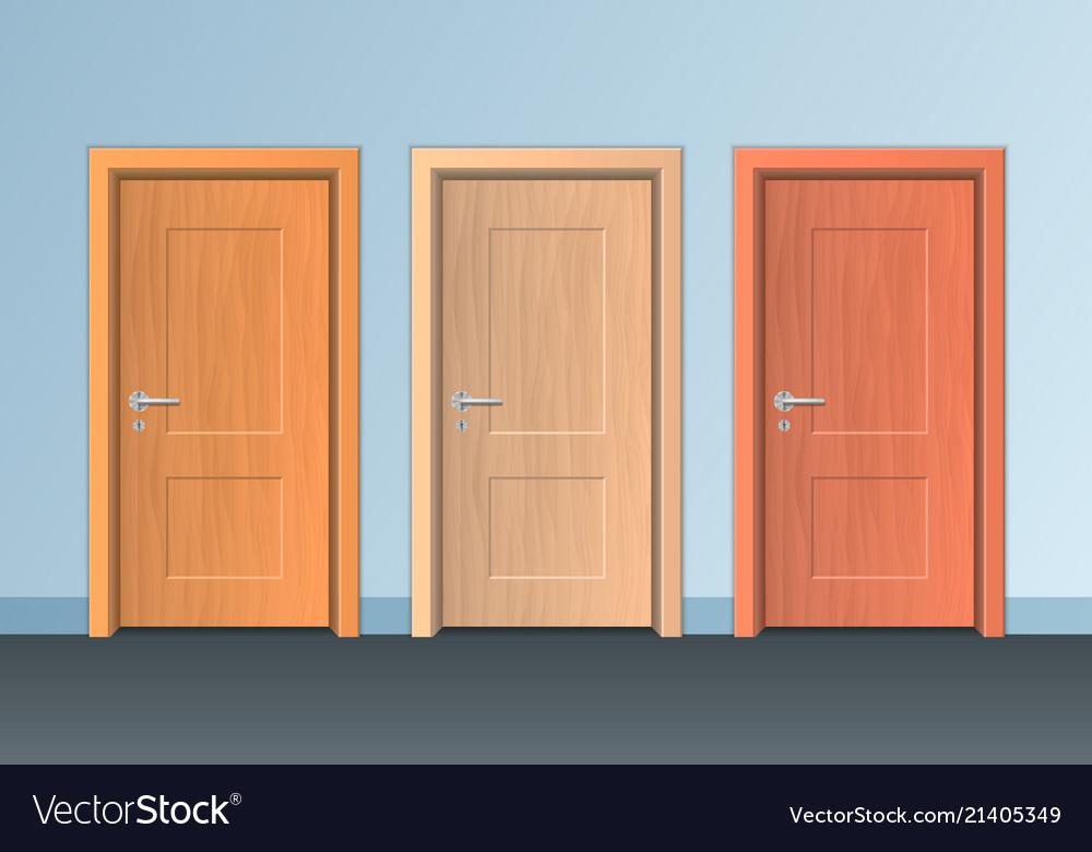 Realistic detailed 3d wooden doors set