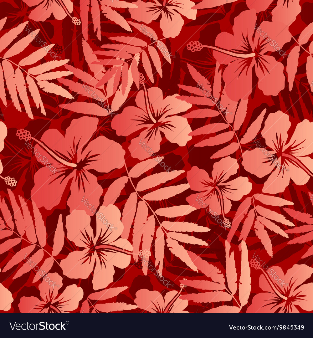 Red tropical flowers and leaves seamless pattern