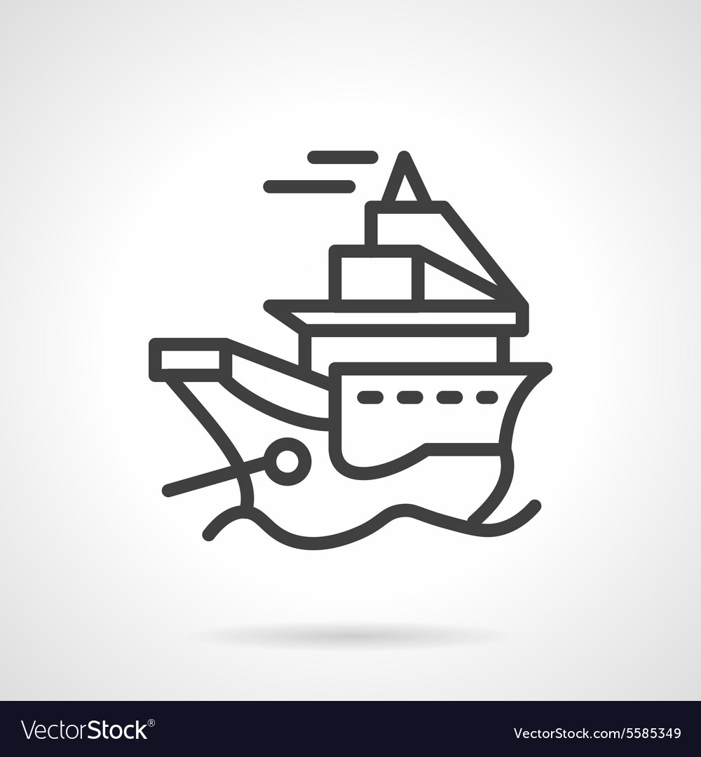 Simple line icon for ship