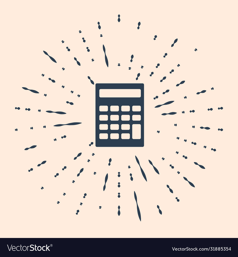 Black Calculator Icon Isolated On Beige Background
