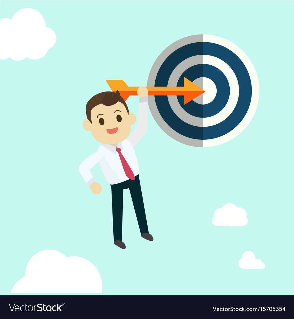 Business man hold arrow and shoot to the goal