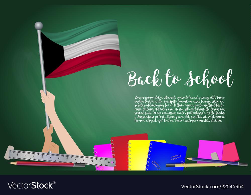 Flag of kuwait on black chalkboard background