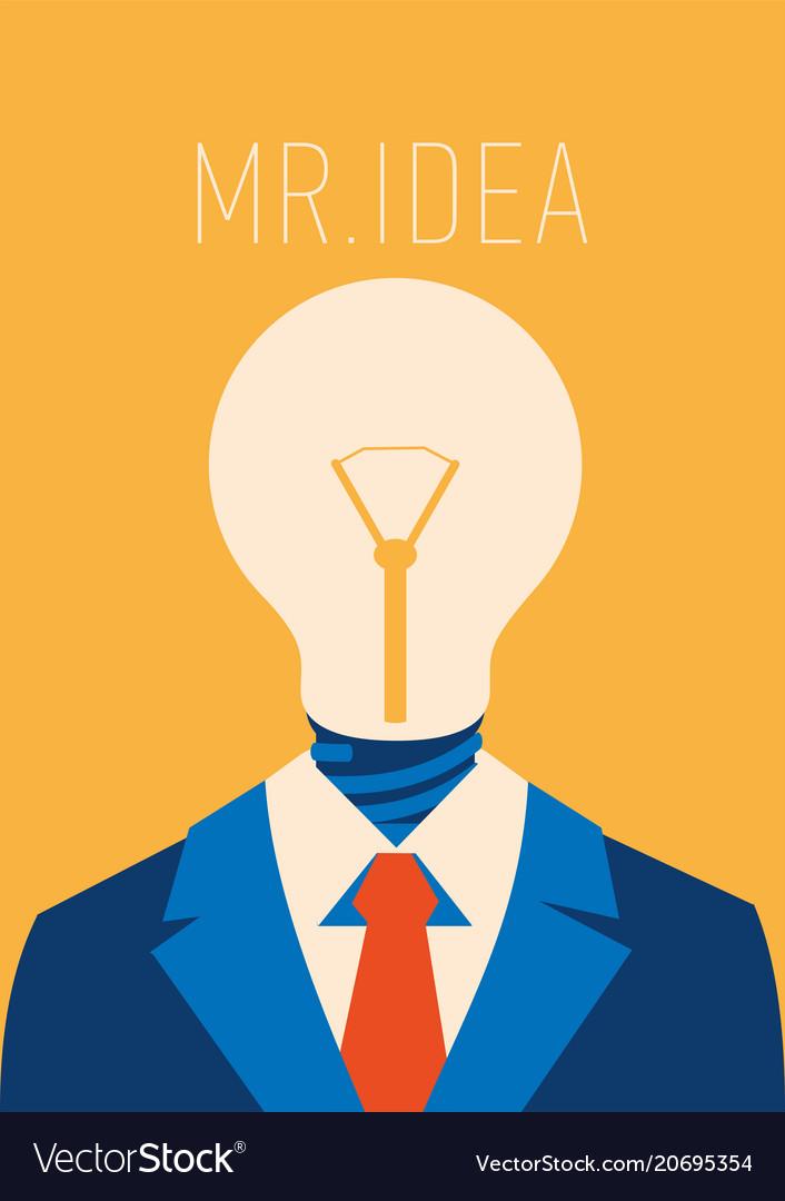 Flat businessman with light bulb instead head