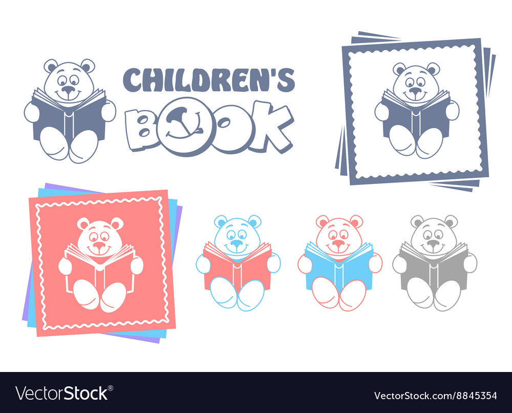 Funny teddy bear reading a book vector image