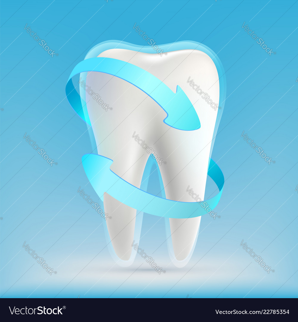 Icon white human tooth with blue arrows