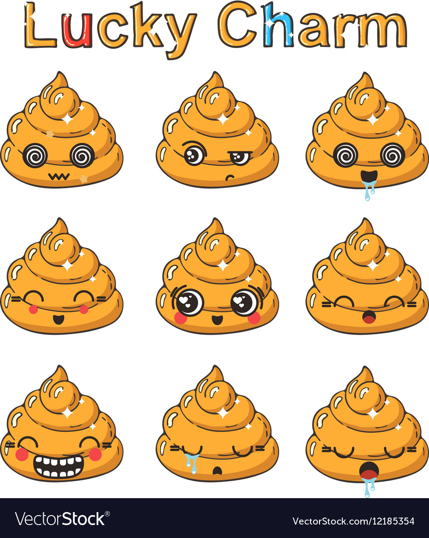 Kawaii golden poop emoticons set Japanese wealth