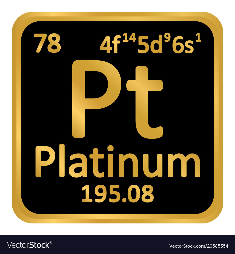 Periodic Table Element Platinum Icon Royalty Free Vector