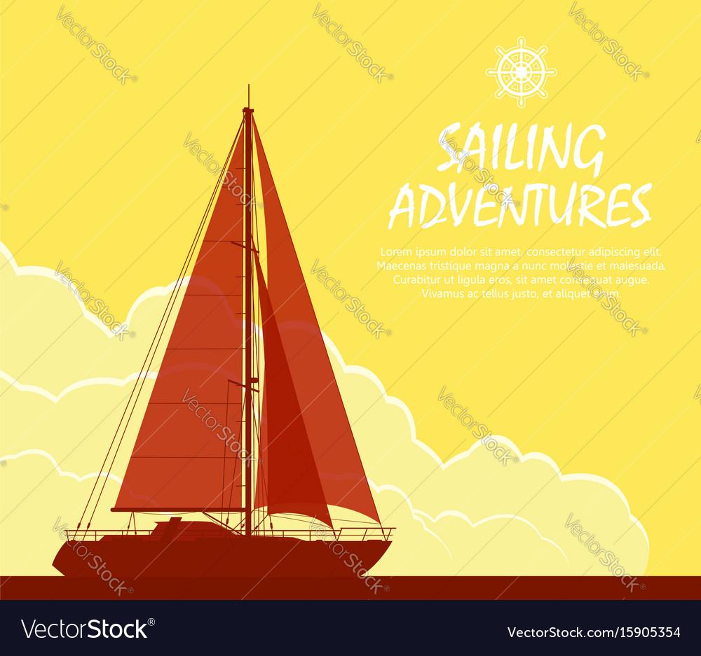 Sailing yacht at sunset vector image