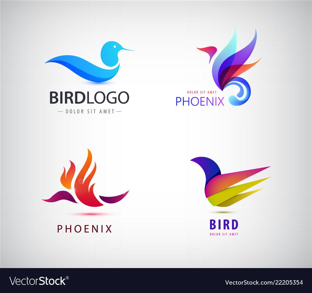 Set birds logos phoenix icons isolated
