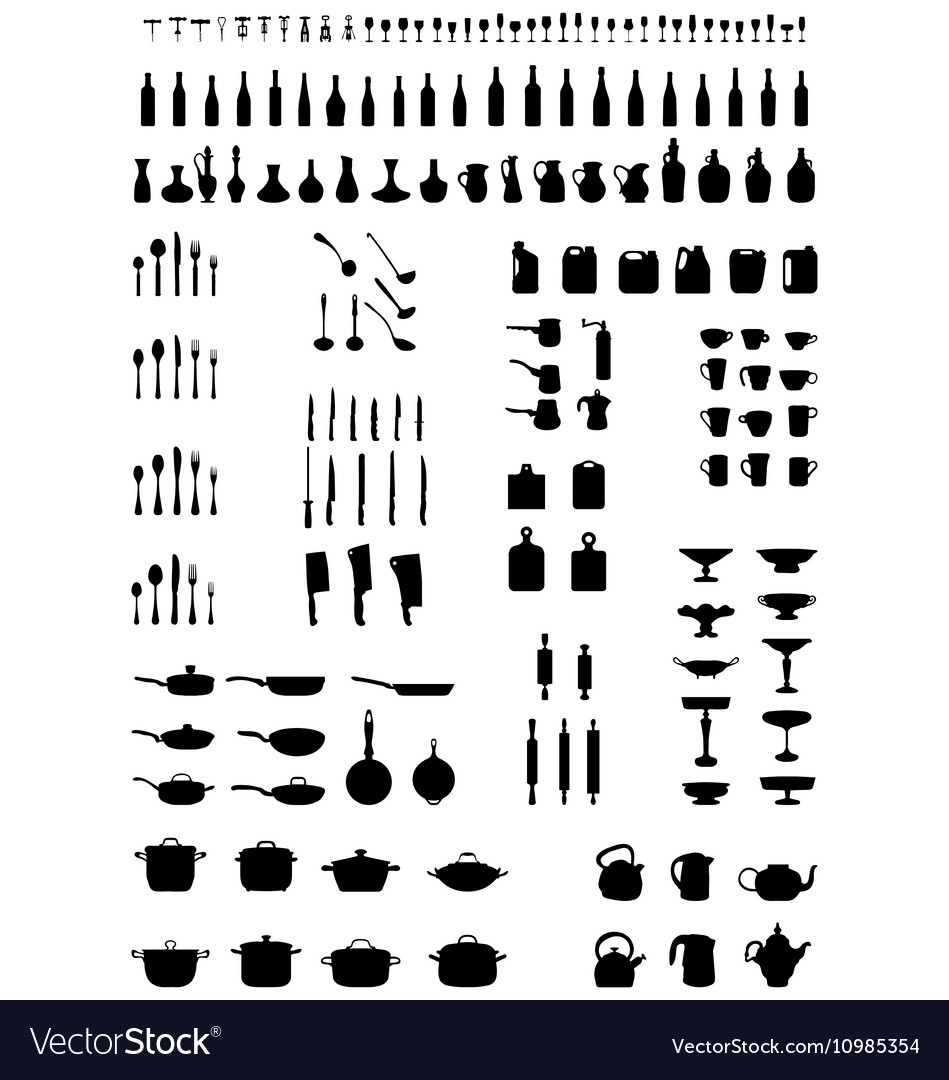 Silhouettes of kitchenware vector image