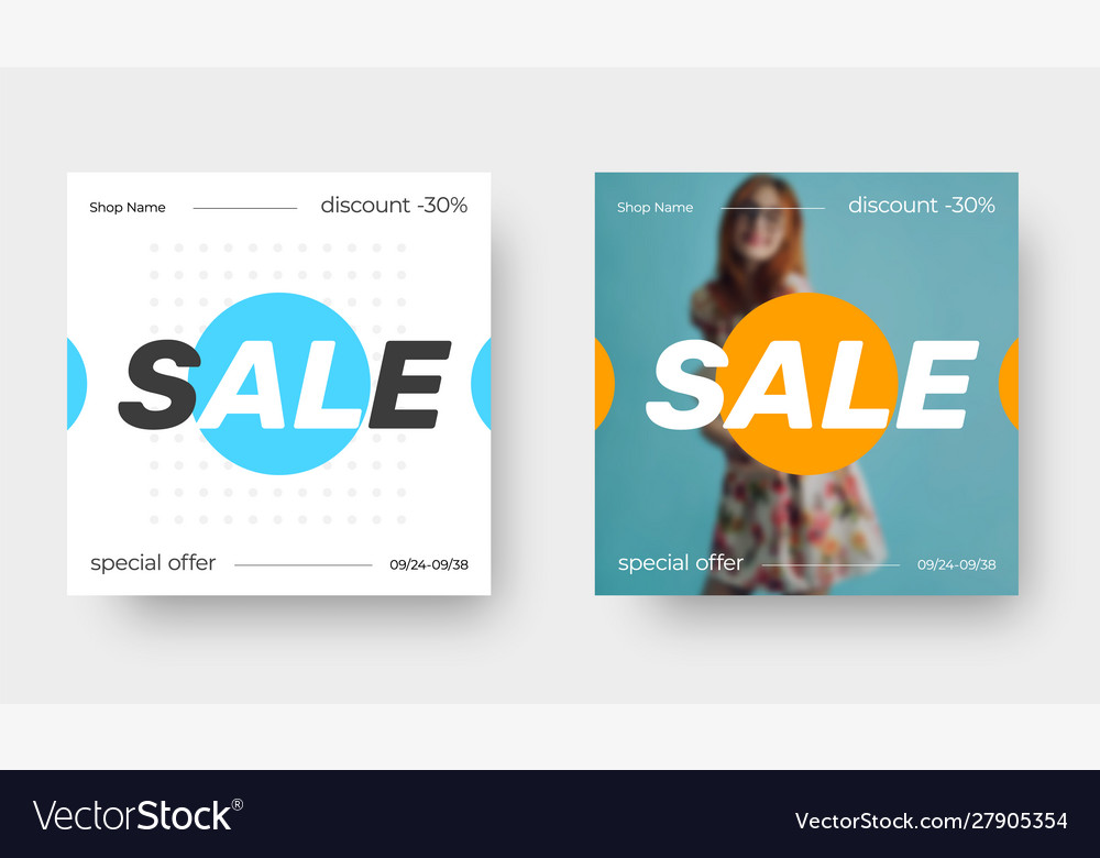 Template square banner for sale with blue and