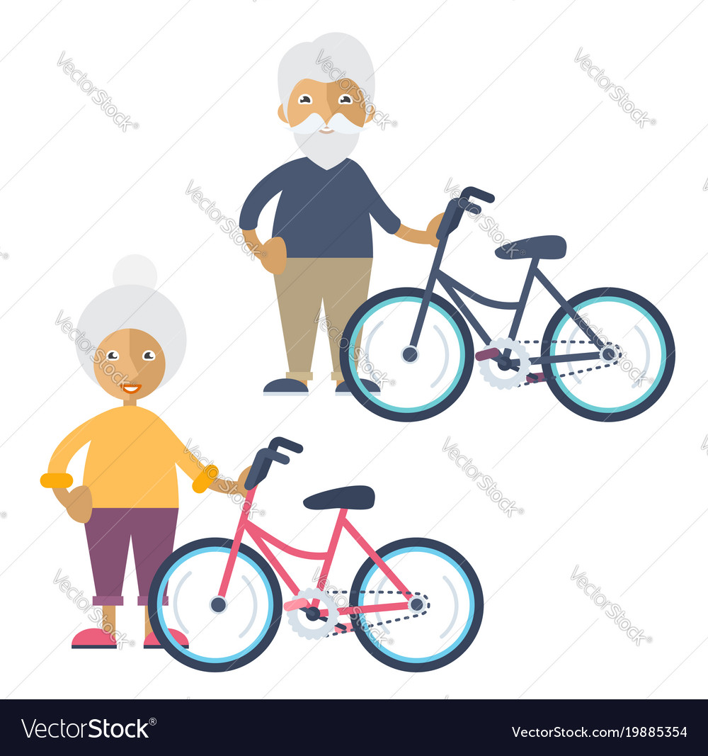 Two old people standing beside their bikes