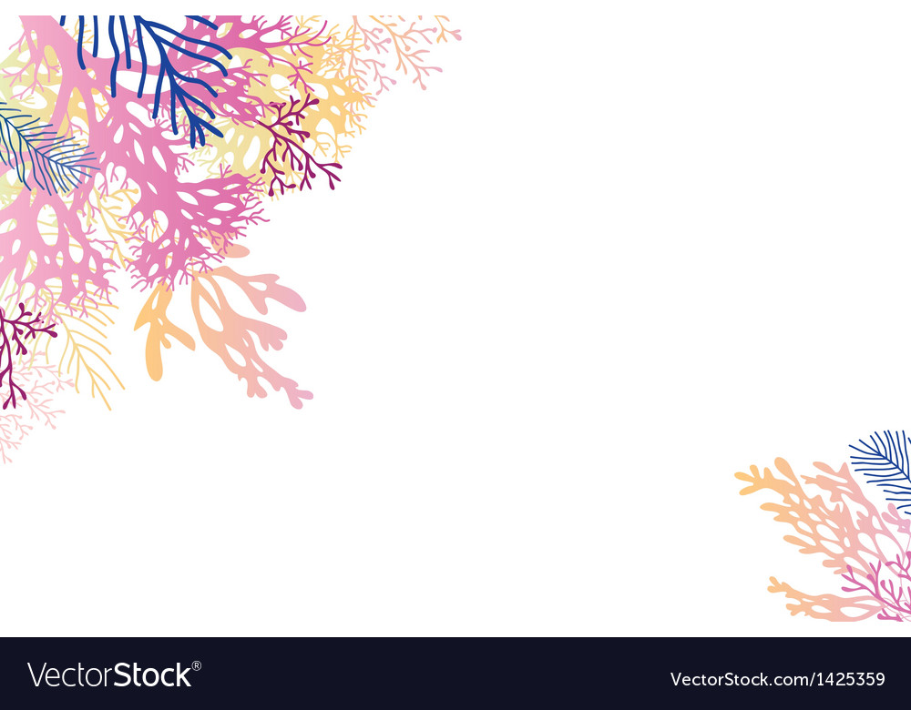 Abstract watercolor seaweed corner background vector image