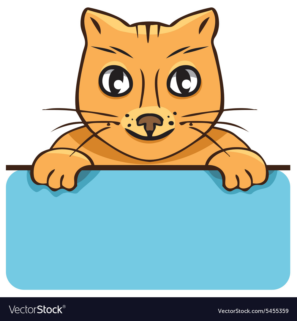 Cartoon cat with a poster