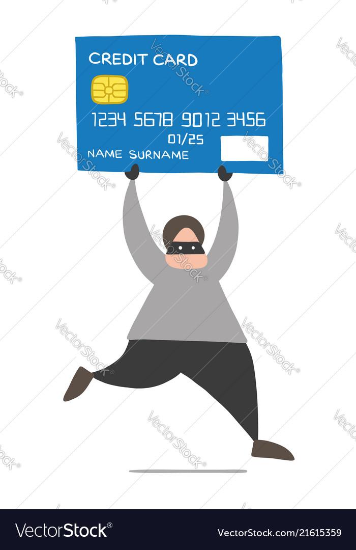 Cartoon thief hacker man with face masked running