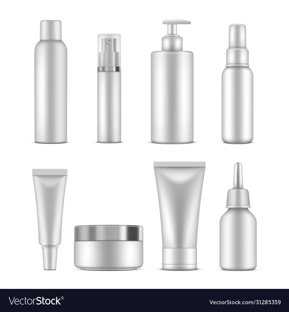 Cosmetic bottles beauty container white template