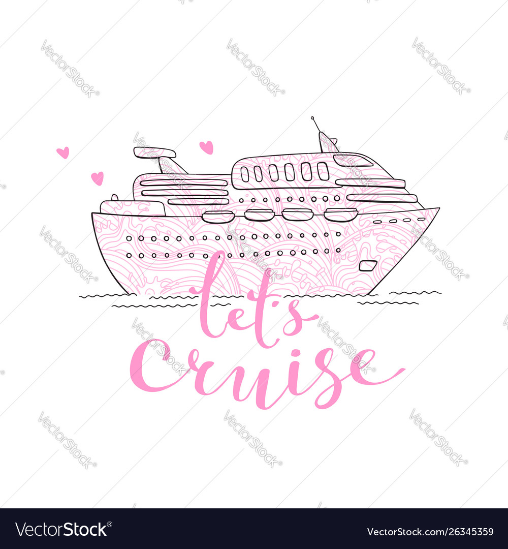Cute card with a cruise ship concept for