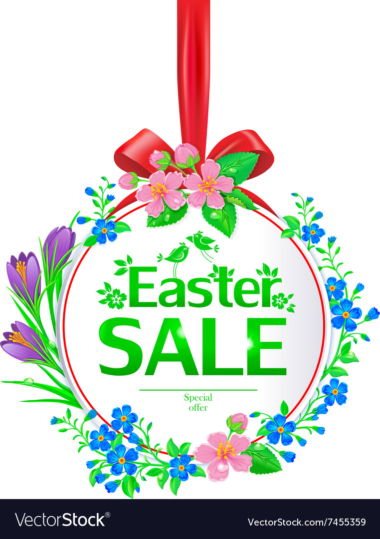 Easter sale banner round