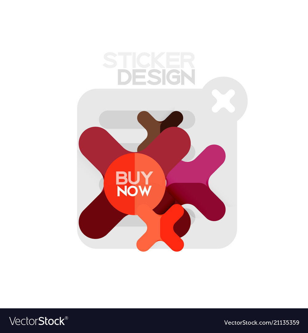 Flat design cross shape geometric sticker icon
