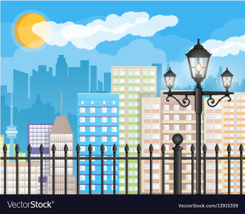 Modern city view cityscape with fence and lamp