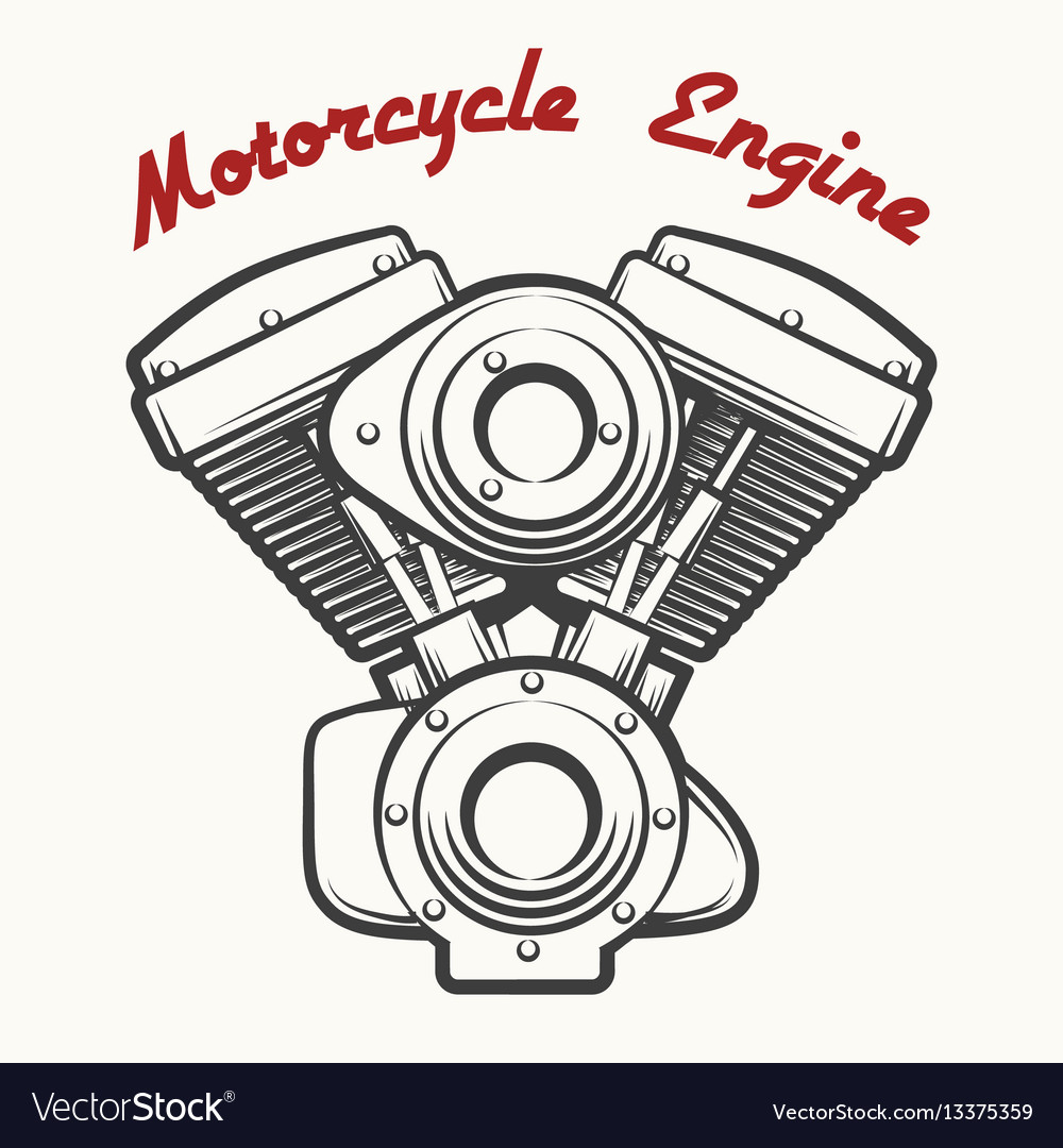 Motorcycle engine emblem vector