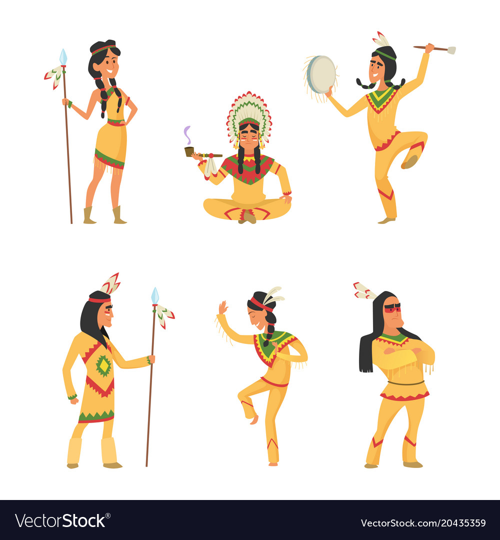 Native american indians cartoon characters set in