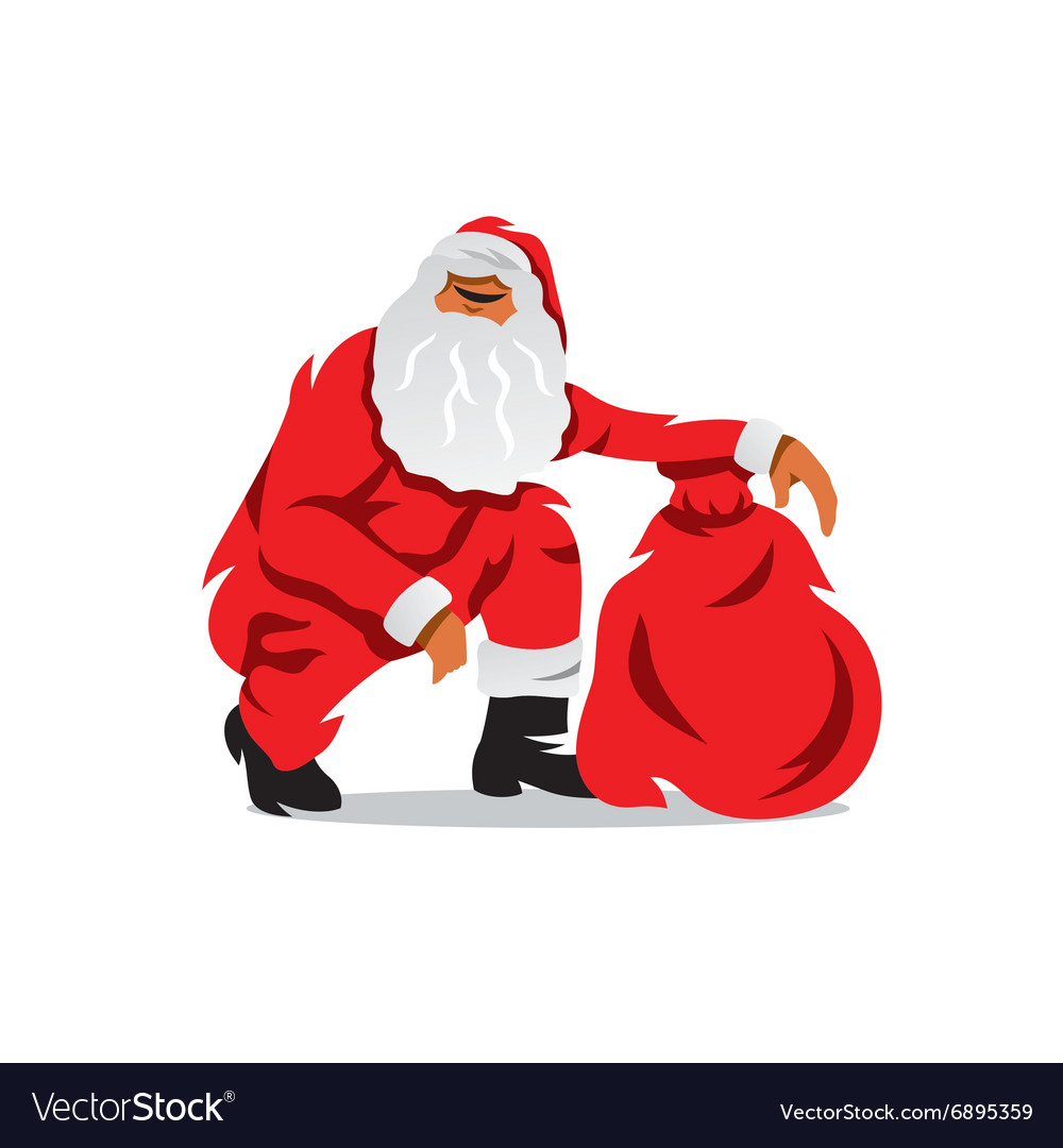 Santa Claus with sack of gifts Cartoon
