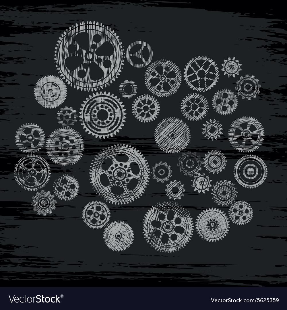 Scribbled cogwheels and gears vector image
