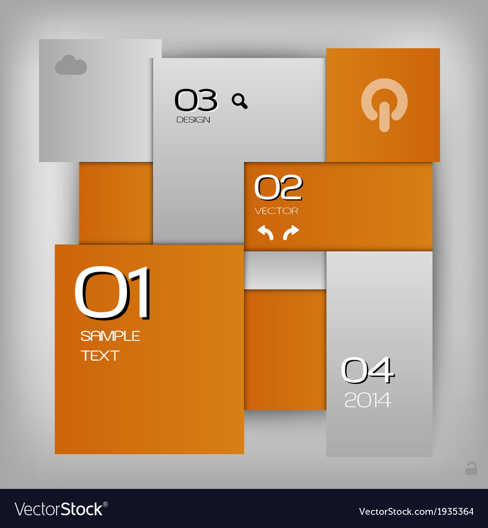 Business squares template orange with text
