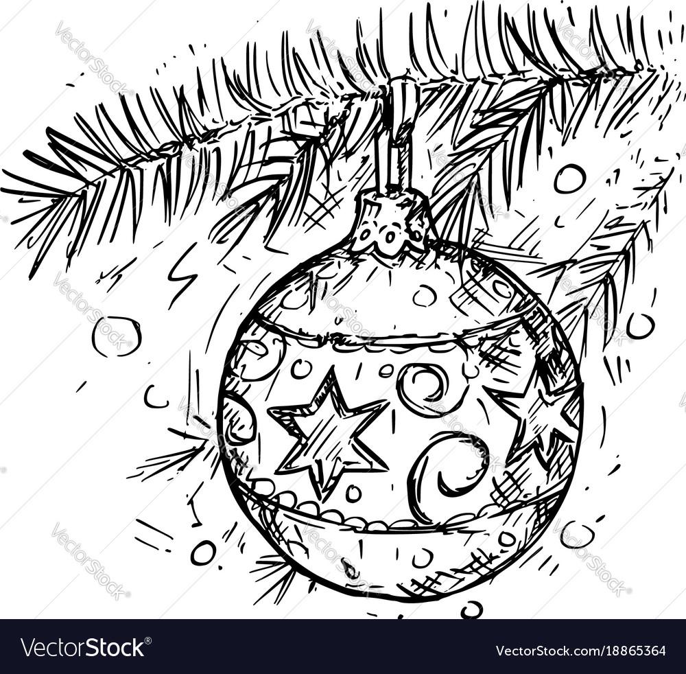 Christmas ball on the tree hand drawing